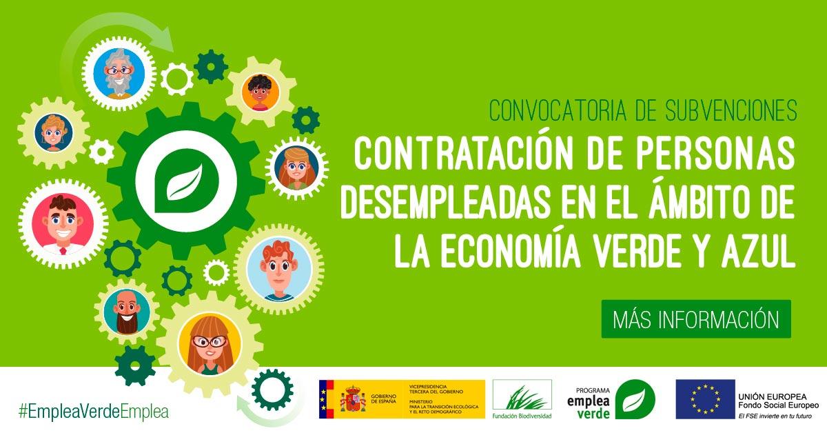 Abierta la convocatoria EMPLEA para apoyar la contratación de personas desempleadas en la economía verde