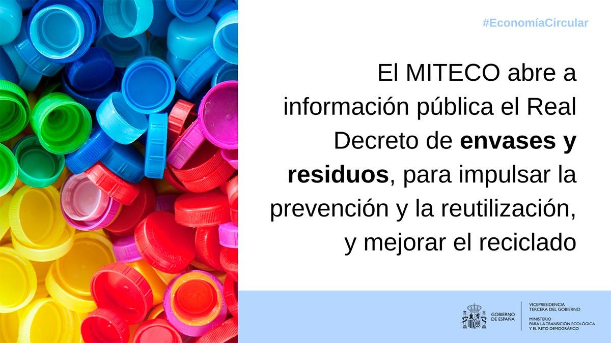 El MITECO abre a información pública el Real Decreto de envases y residuos, para impulsar la prevención y la reutilización, y mejorar el reciclado posterior