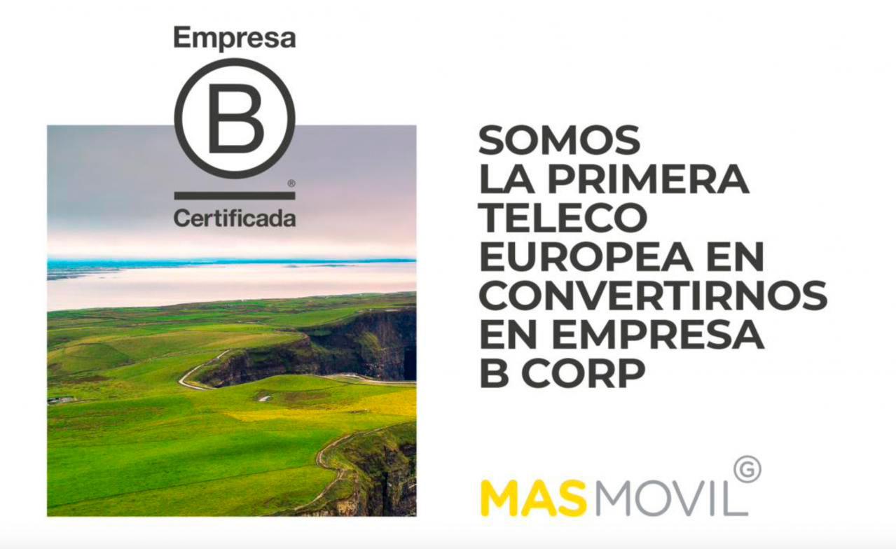 Grupo MASMOVIL, el primer operador de telecomunicaciones de Europa en convertirse en B Corp